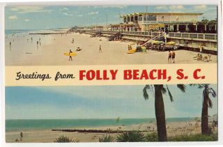 Folly Beach SC Beach Boardwalk Surfboard Rubber Rafts Views Postcard