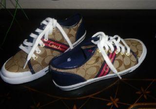 NEW Womens Coach Folly Signature Khaki Navy Sneakers Sz 7