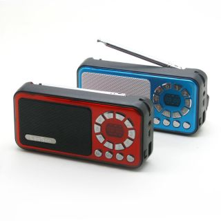 Red Mini Portable Speaker Music Player FM Radio LED Display