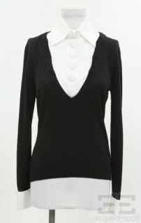 Anne Fontaine Black Wool White Removable Collar Sweater Size 38