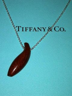 Tiffany Co Frank Gehry Fish Pendant in Ebony Wood on Sterling Silver