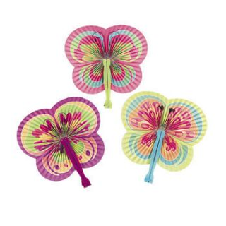 12 Spring Color Butterfly Shaped Folding Fans Girls Tea Birthday Party