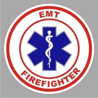 EMS 10004 EMT Firefighter Emergency Star of Life Round Decal Bumper
