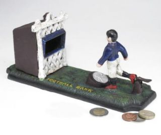 Football Kicker Foundry Cast Iron Mechanical Coin Bank