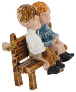 Vintage Fran Mar Moppets Boy Girl Bench Pin Brooch
