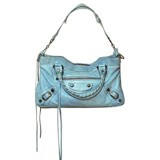 Authentic Balenciaga Mini First Light Blue Leather Shoulder Bag