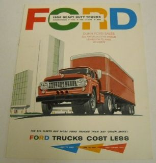 Ford 1958 F700 F750 F800 F900 Heavy Duty Truck Brochure