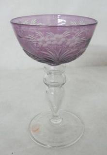 BEAUTIFUL C. 1900 STEUBEN WHEEL CARVED WINE GLASS BY FREDERICK CARDER