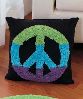 Hippie Teens Room Multicolor Hippy Peace Sign Pillow New