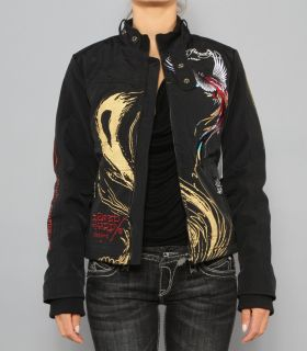 New Womens Ed Hardy Christian Audigier Moto Jacket Panther Roses XS s