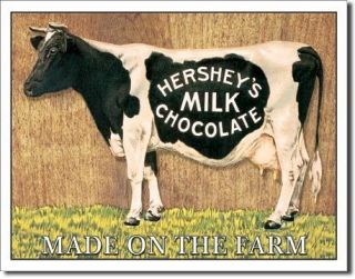 Hershey Milk Chocolate Cow Farm Country Candy Metal Tin Sign Nostalgic