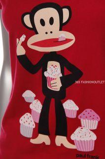 New Paul Frank Womens V Neck Julius Eating Cup Cake Juniors T Shirt