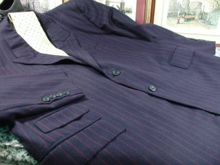 Bespoke James Levett Navy Blue w Red PS Full Suit 54 s 44 s Portly