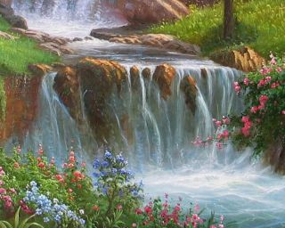 Huge Waterfall River Forest Landscape Oil Painting Art on Canvas 36