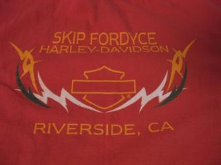 Harley Davidson Skip Fordyce Red Flames Cute womens T Shirt L