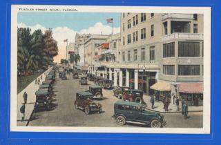 Flagler Street & Cars @ Miami, Fl Vintage Street Scene Postcard
