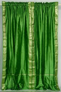 Indo Green Rod Pocket Sari Sheer Curtain Drape Panel 84