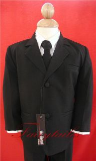 Gino Giovanni Boy Black Formal Tuxedo Dress Suit Size