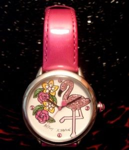 Johnson PINK GLITTER FLAMINGO ROSE Crystal FUSCHIA LEATHER BAND WATCH