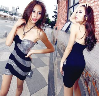 New Arrival Color Block Sequins Sleeveless Slim Fit Dress