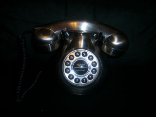50s Style Monster Phone Stainless Steel Look Rotary Push Button Flash