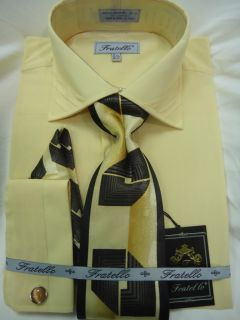 Mens Fratello Elegant Light Yellow Dress Shirt Tie Hanky FRS9304