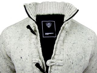 Mens Dissident Andersonvlle Faux Fur Lined Funnel Neck Marl Cardigan