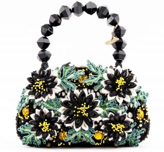 NWT MARY FRANCES FULL BLOOM BEADED JEWELED FLOWERS EVENING CLUTCH BAG