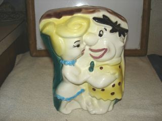 Fred and Wilma Flintstones Ceramic Bank American Bisque