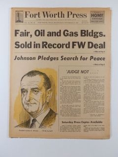 Johnson Pledges Search for Peace JFK Fort Worth Press November 27 1963