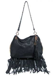 Gen 2 II Black Leather Fringe Stud Shoulder Bag Purse Handbag