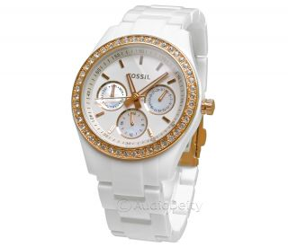 Fossil Stella White Acrylic & Rose Gold Tone Ladies Multifunction