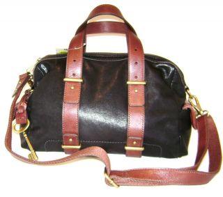 New Fossil Mason Satchel Shoulder Bag Cross Body Black Leather Brown