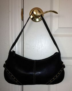 FOSSIL 1954 BLACK LEATHER BRASS STUDS SMALL HOBO SHOULDER BAG HANDBAG