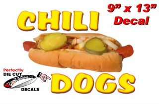 Chili Dogs 9x13 Decal for Hot Dog Cart or Concession Trailer Sign