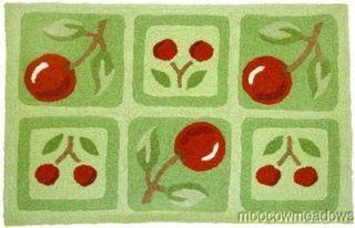 New CHERRY KITCHEN RUG Fruit Decor RED Green Throw Floor Mat 33 Accent
