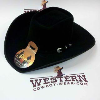 New Serratelli 4 States 5X Felt Cowboy Hat E6 Brick Crease Black Bound