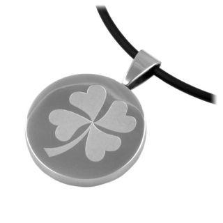Stainless Steel Shamrock Pendant Four Leaf Clover Irish