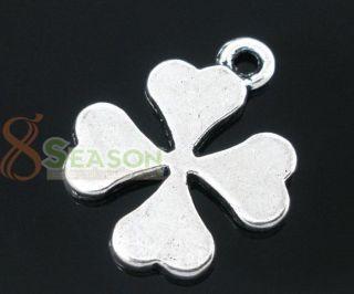 50 Silver Tone Four Leaf Clover Charm Pendants 19x15mm