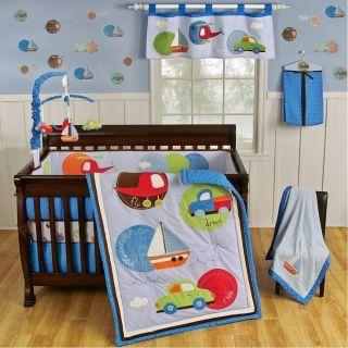 Boy Crib Bedding Blue Cars Boats Planes 4 Piece Set Nursery Decor New