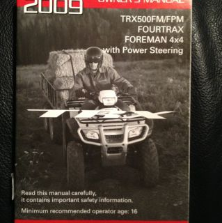 Honda FOURTRAX FOREMAN 4X4 TRX500FM FPM Owners Manual NEW 2009