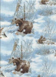 Baby Animals in Blocks Bear Deer Fox Raccoon Quilt Fabric Wee Wildlife