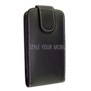 610 Smooth Black Leather Magnetic Flip Case Cover Wallet Pouch