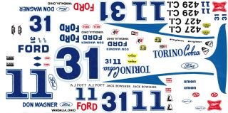 11 or 31 AJ Foyt Jack Bowsher Torinos 1 64th HO Scale Slot Car Decals