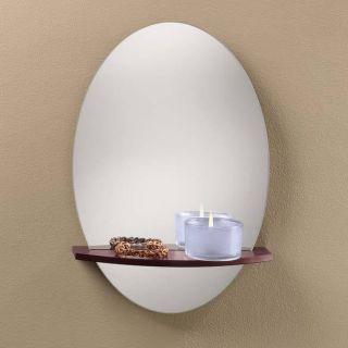 Frameless Mirror with Floating Shelf