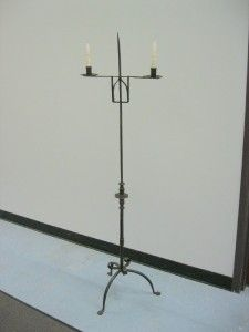 Decorated Floor Standing Wrought Iron Adjustable Candle Holder