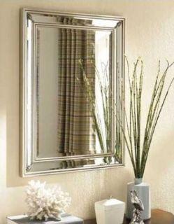 Large Dazzling Silver Leaf Frameless Wall Mirror Vanity Mantle