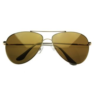 Full Mirrored Lens Curved Teardrop Metal Wire Frame Aviator Sunglasses