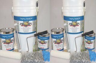 Epoxy Floor Garage & Basement Coating Kit with Topcoat & Flakes