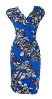 Blue Brown Dramatic Floral Print Stretch Day Dress Tonya Size 8 New